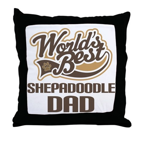 Shepadoodle Dog Dad Throw Pillow