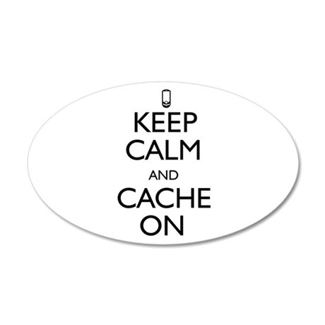 Keep Calm and Cache On 35x21 Oval Wall Decal