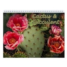 Cactus and Succulent Flower Wall Calendar