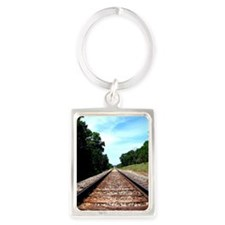 .railroad tracks. color Portrait Keychain