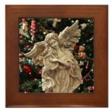 Christmas Angel Statue Framed Tile