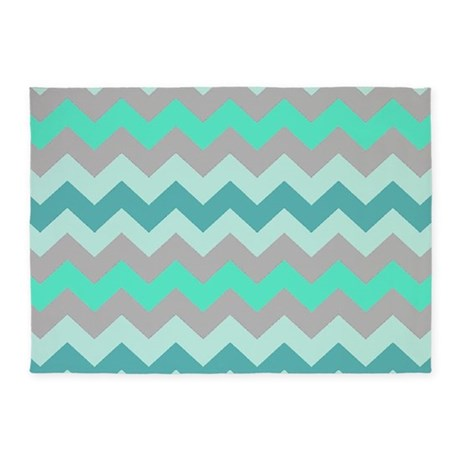 Green Gray Chevron Stripes 5'x7'Area Rug