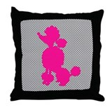 Hot Pink Poodle on Black and White Dots Throw Pill