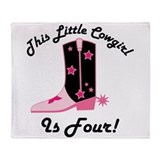 4th Birthday Cowgirl Throw Blanket