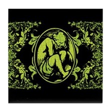 Weeping Cherub Green Tile Coaster