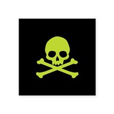 "Green Skull And Crossbones Square Sticker 3"" x 3"""