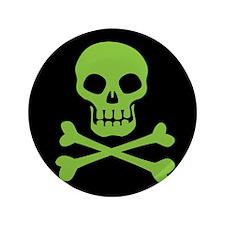 "Skull And Crossbones Green 3.5"" Button"
