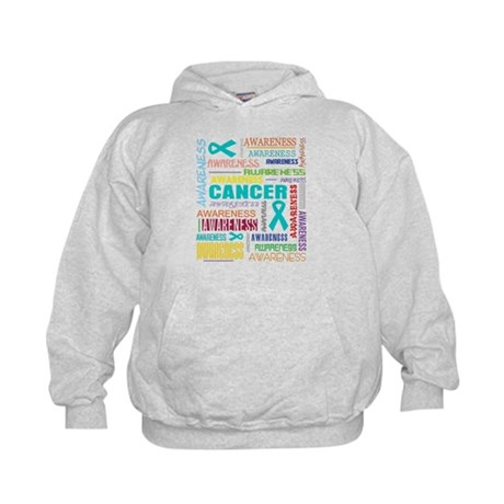 Ovarian Cancer Awareness Collage Kids Hoodie