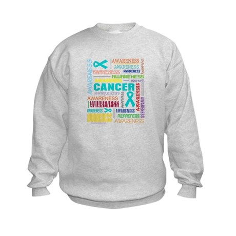 Ovarian Cancer Awareness Collage Kids Sweatshirt