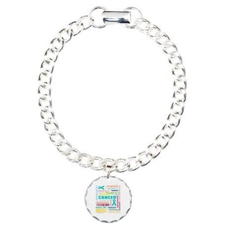 Ovarian Cancer Awareness Collage Charm Bracelet, O