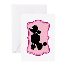 Black and Pink Poodle Silhouette Greeting Cards (P