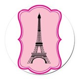 Eiffel Tower on Pink Flourish Round Car Magnet