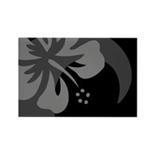 Hibiscus Black Rectangle Magnet (100 pack)