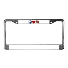 Peace Love and Bacon Strips License Plate Frame