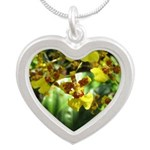 .yellow oncidium. Silver Heart Necklace
