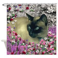 Stella Siamese Cat Flowers Shower Curtain