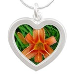 .orange daylily. Silver Heart Necklace