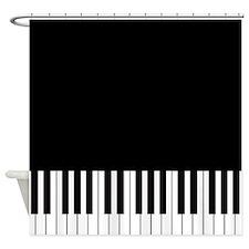 Black Piano Shower Curtain