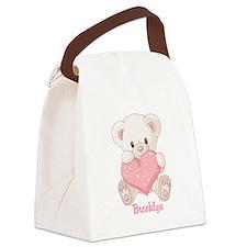 Custom name valentine bear Canvas Lunch Bag