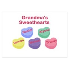 Custom Grand kids sweethearts 3.5 x 5 Flat Cards
