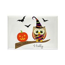 Custom name Halloween owl Rectangle Magnet