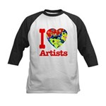 I Love Artists Kids Baseball Jersey