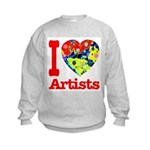 I Love Artists Kids Sweatshirt