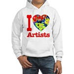 I Love Artists Hooded Sweatshirt
