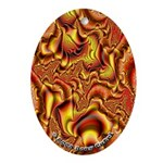 Fractal C~01 Porcelain Oval Ornament