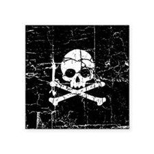 "Crackled Skull And Crossbones Square Sticker 3"" x"