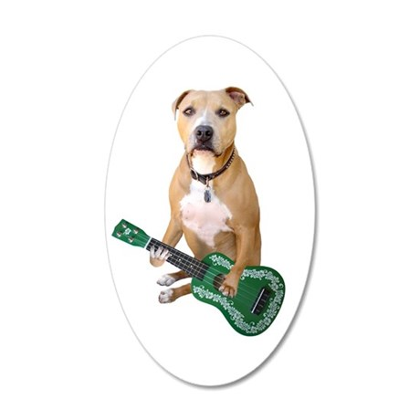Pit Bull Ukulele 20x12 Oval Wall Decal