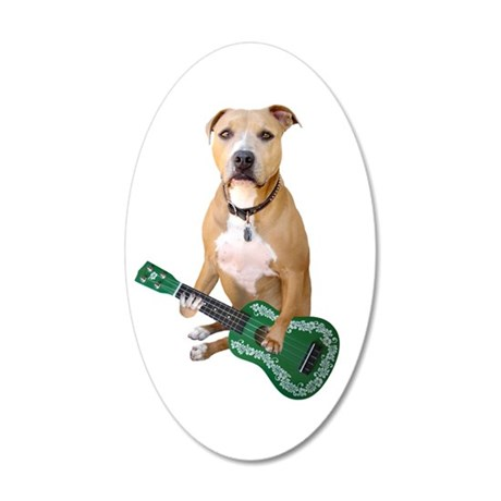 Pit Bull Ukulele 35x21 Oval Wall Decal