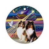 Xmas Star & 2 Shelties Ornament (Round)