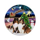 Xmas Magic & 2 Shelties Ornament (Round)