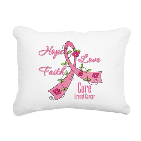 Breast Cancer Flower Ribbon Rectangular Canvas Pil
