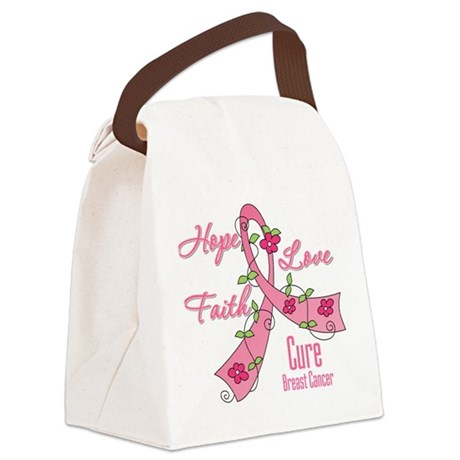 Breast Cancer Flower Ribbon Canvas Lunch Bag