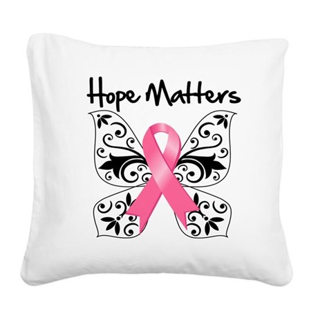 Hope Matters Breast Cancer Square Canvas Pillow
