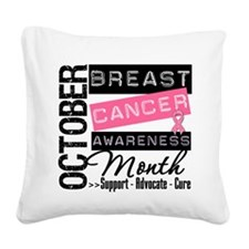 Breast Cancer Month Square Canvas Pillow
