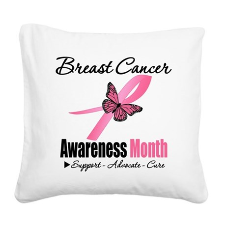 Breast Cancer Awareness Month Square Canvas Pillow