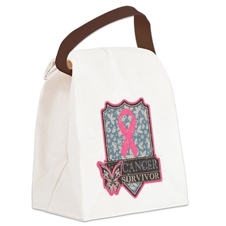 Vintage Breast Cancer Survivor Canvas Lunch Bag