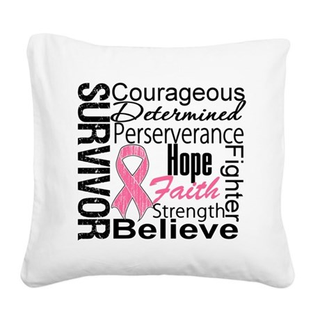 Breast Cancer Survivor Square Canvas Pillow