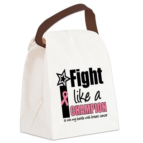 i fight like a champion pink Canvas Lunch Bag