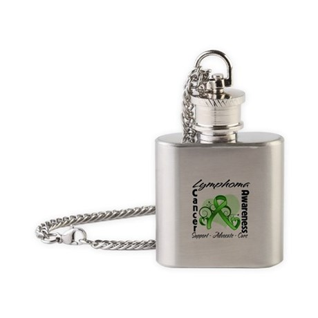 Ribbon Lymphoma Awareness Flask Necklace