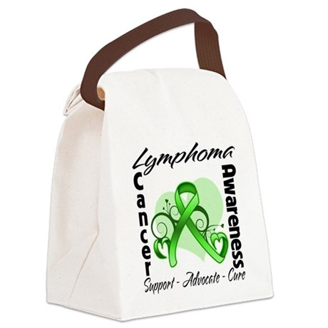 Ribbon Lymphoma Awareness Canvas Lunch Bag
