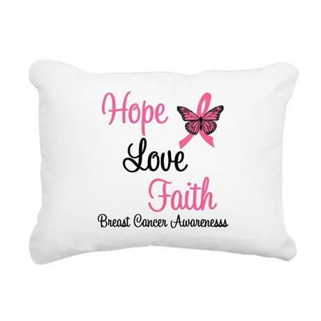 Hope Love Faith Breast Cancer Rectangular Canvas P