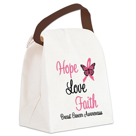 Hope Love Faith Breast Cancer Canvas Lunch Bag