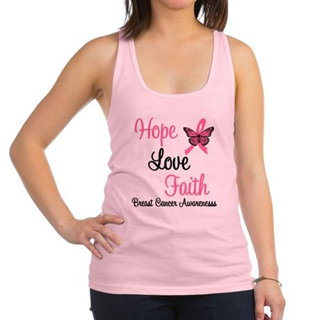 Hope Love Faith Breast Cancer Racerback Tank Top