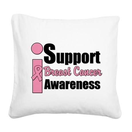 isupportbcawarenesspink.png Square Canvas Pillow