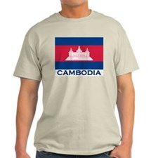 Cambodia Flag Merchandise Ash Grey T-Shirt