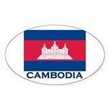 Cambodia Flag Merchandise Oval Decal